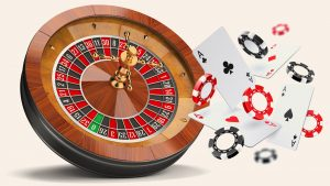 roulette, casino chips and cards